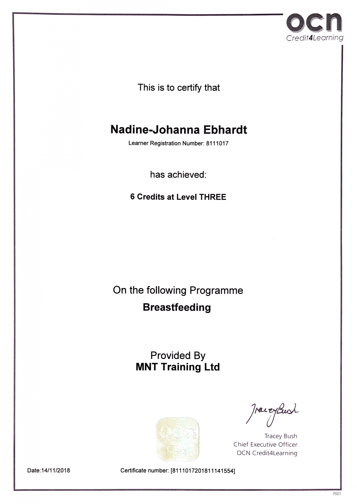 OCN Breastfeeding Level 3